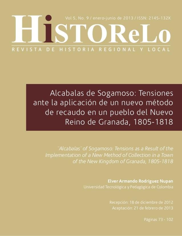 Alcabalas de Sogamoso: Tensionesante la aplicación de un nuevo métodode recaudo en un pueblo del NuevoReino de Granada, 18...