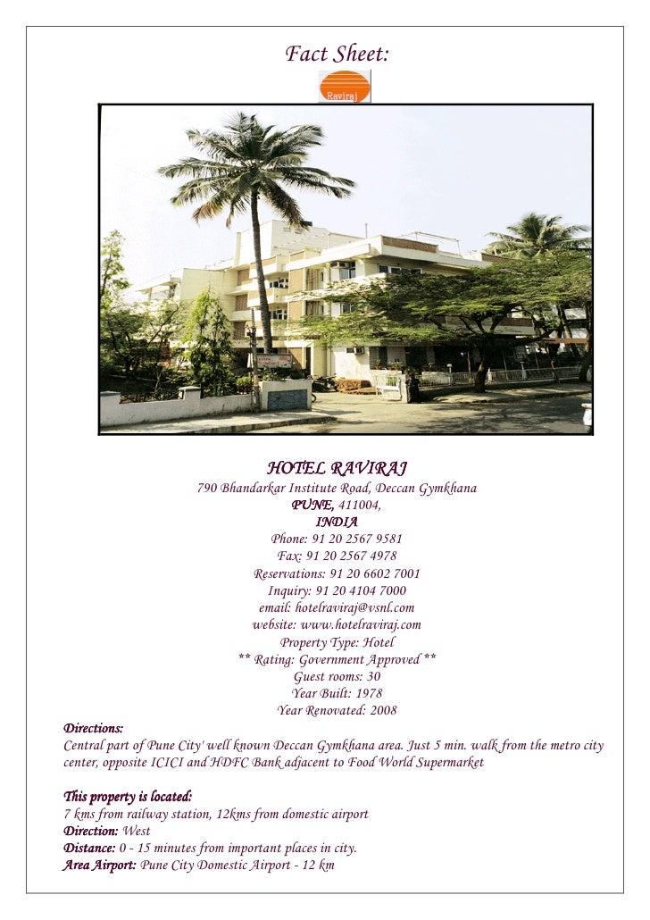 Fact Sheet:                                         HOTEL RAVIRAJ                         790 Bhandarkar Institute Road, D...