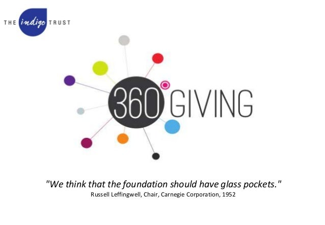 """We think that the foundation should have glass pockets."" Russell Leffingwell, Chair, Carnegie Corporation, 1952"