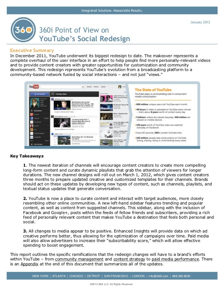 360i Report on YouTube's Social Redesign