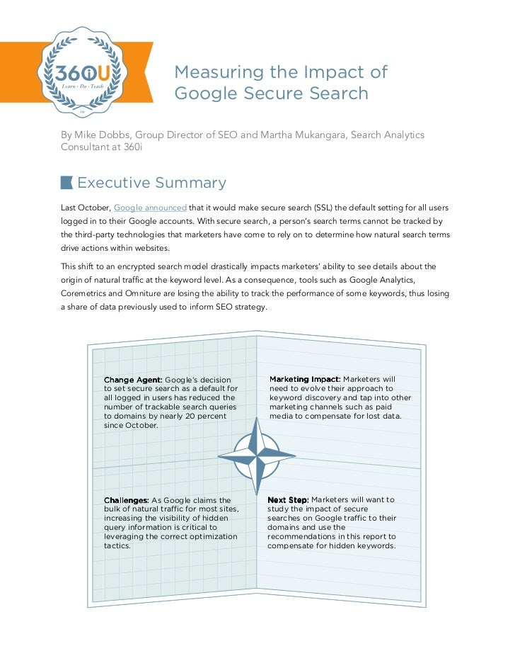 Measuring the Impact of                                 Google Secure SearchBy Mike Dobbs, Group Director of SEO and Marth...