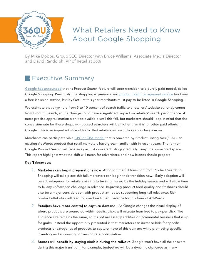 What Retailers Need to Know                                About Google ShoppingBy Mike Dobbs, Group SEO Director with Bru...