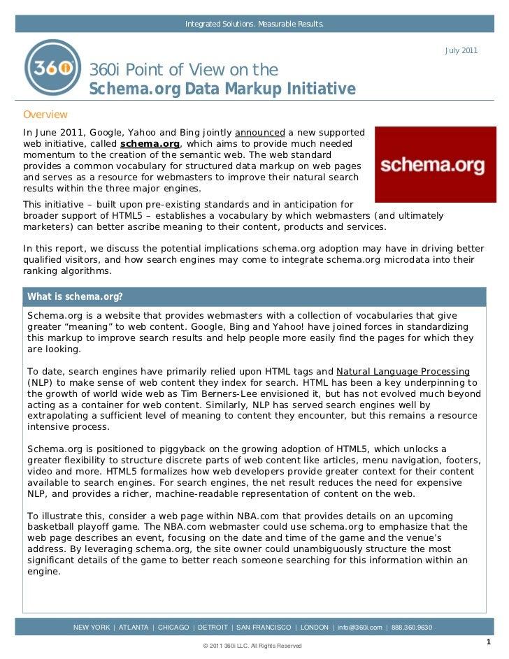 360i POV on the Schema.org Markup Initiative