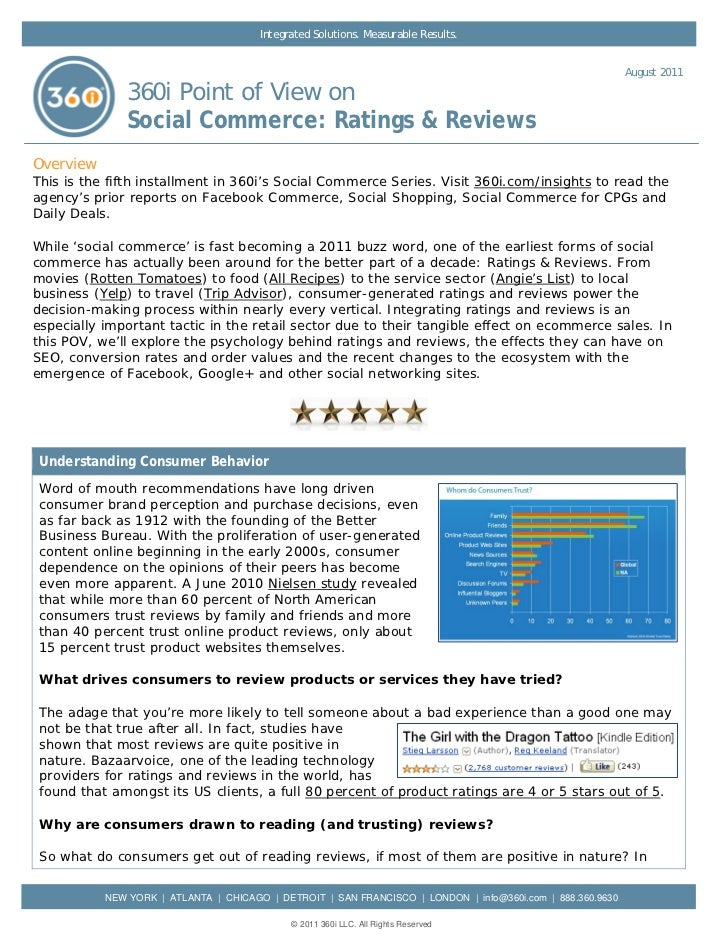 360i Report on Social Commerce: Ratings & Reviews