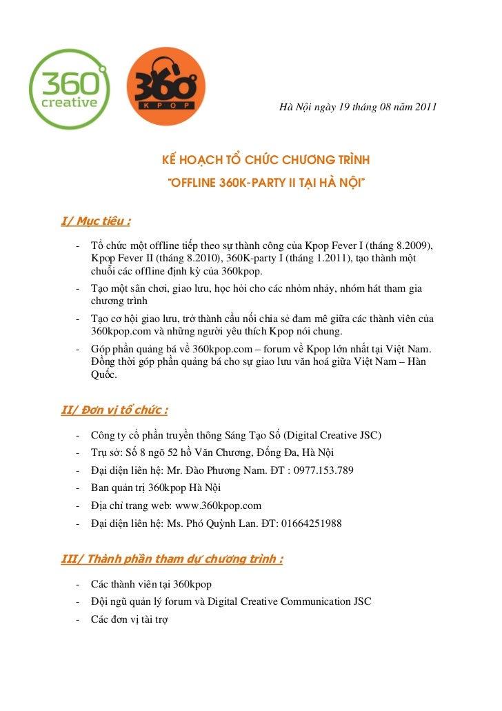 """Hà Nội ngày 19 tháng 08 năm 2011                      KÕ ho¹ch tæ chøc ch−¬ng tr×nh                           """"Offline 360..."""