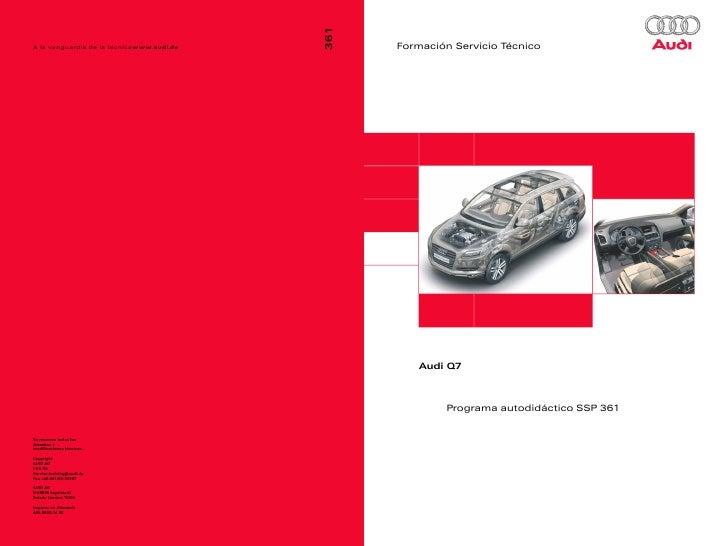 Formación Servicio Técnico   Audi Q7        Programa autodidáctico SSP 361