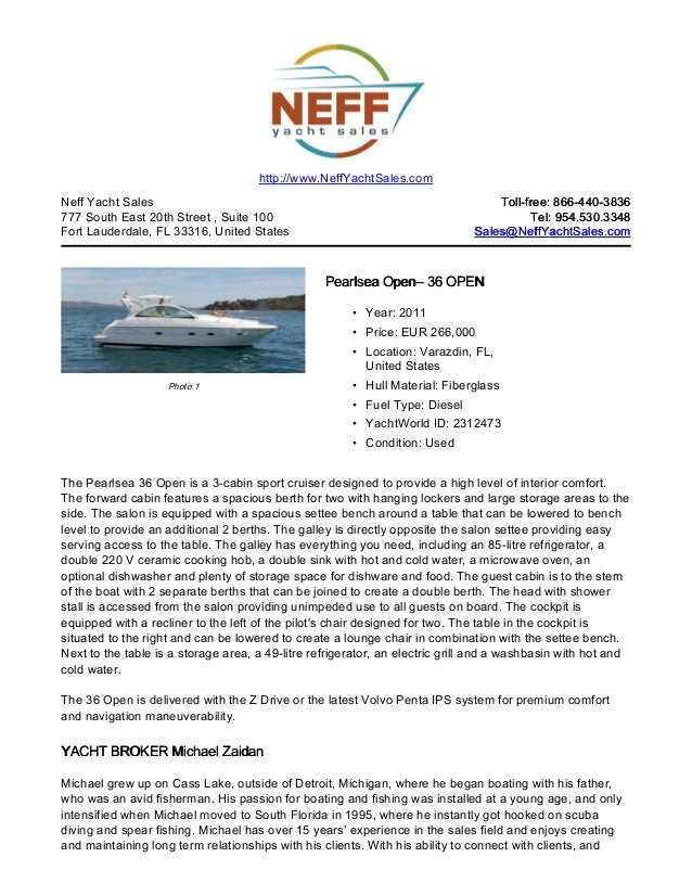 36' 2011 pearlsea open for sale   neff yacht sales