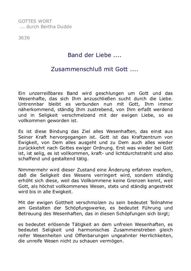 GOTTES WORT ... durch Bertha Dudde 3636 Band der Liebe .... Zusammenschluß mit Gott .... Ein unzerreißbares Band wird gesc...