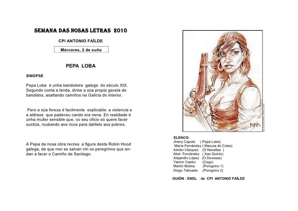 SEMANA DAS NOSAS LETRAS 2010                  CPI ANTONIO FAÍLDE                    Mércores, 2 de xuño                   ...