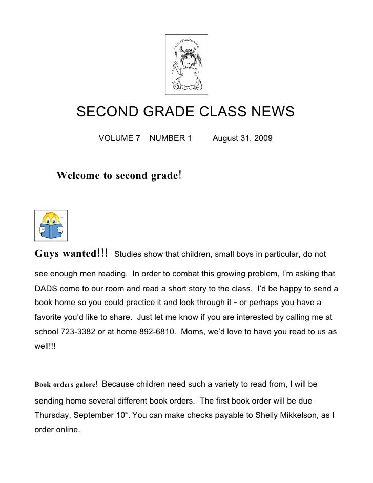 SECOND GRADE CLASS NEWS                   VOLUME 7      NUMBER 1          August 31, 2009              Welcome to second g...
