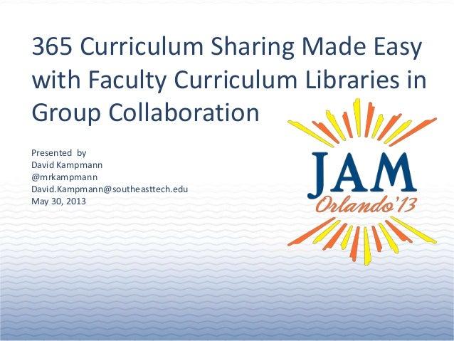 © 2013 Jenzabar, Inc.Presented byDavid Kampmann@mrkampmannDavid.Kampmann@southeasttech.eduMay 30, 2013365 Curriculum Shari...