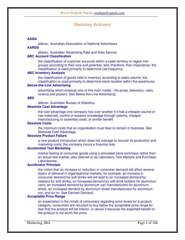 Biswa Prakash Nayak, razabpn@gmail.com                                   Marketing dictionary   AANA       abbrev. Austral...