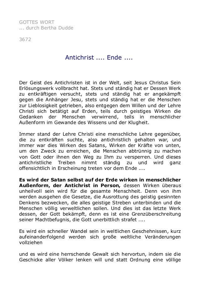 GOTTES WORT ... durch Bertha Dudde 3672 Antichrist .... Ende .... Der Geist des Antichristen ist in der Welt, seit Jesus C...