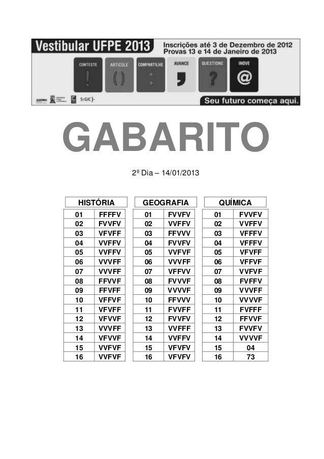 GABARITO             2º Dia – 14/01/2013HISTÓRIA       GEOGRAFIA            QUÍMICA01   FFFFV      01     FVVFV       01  ...
