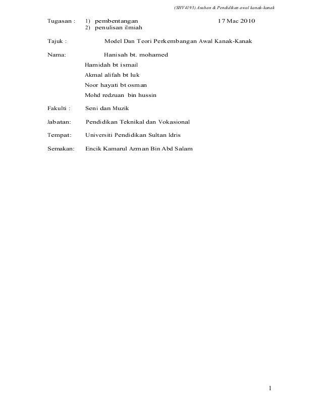 (SHV4193) Asuhan & Pendidikan awal kanak-kanakTugasan :   1) pembentangan                                   17 Mac 2010   ...