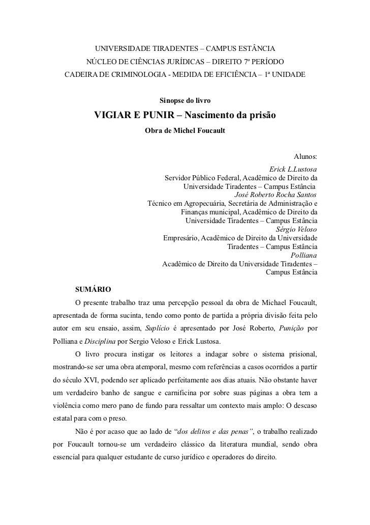 UNIVERSIDADE TIRADENTES – CAMPUS ESTÂNCIA           NÚCLEO DE CIÊNCIAS JURÍDICAS – DIREITO 7º PERÍODO   CADEIRA DE CRIMINO...