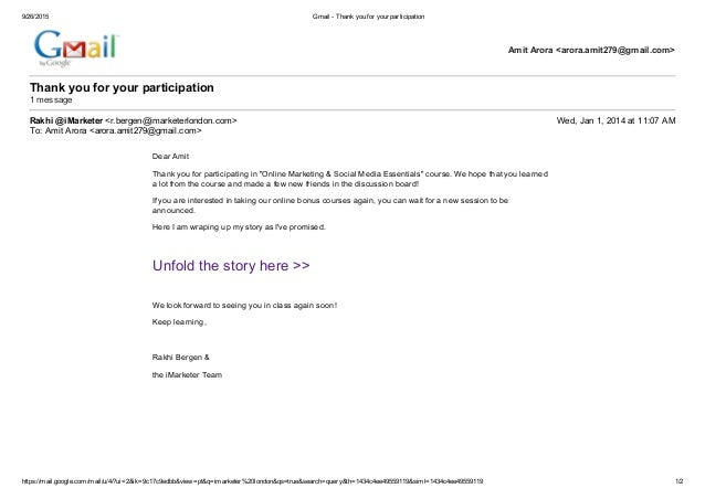 gmail   thank you for your participation online marketing
