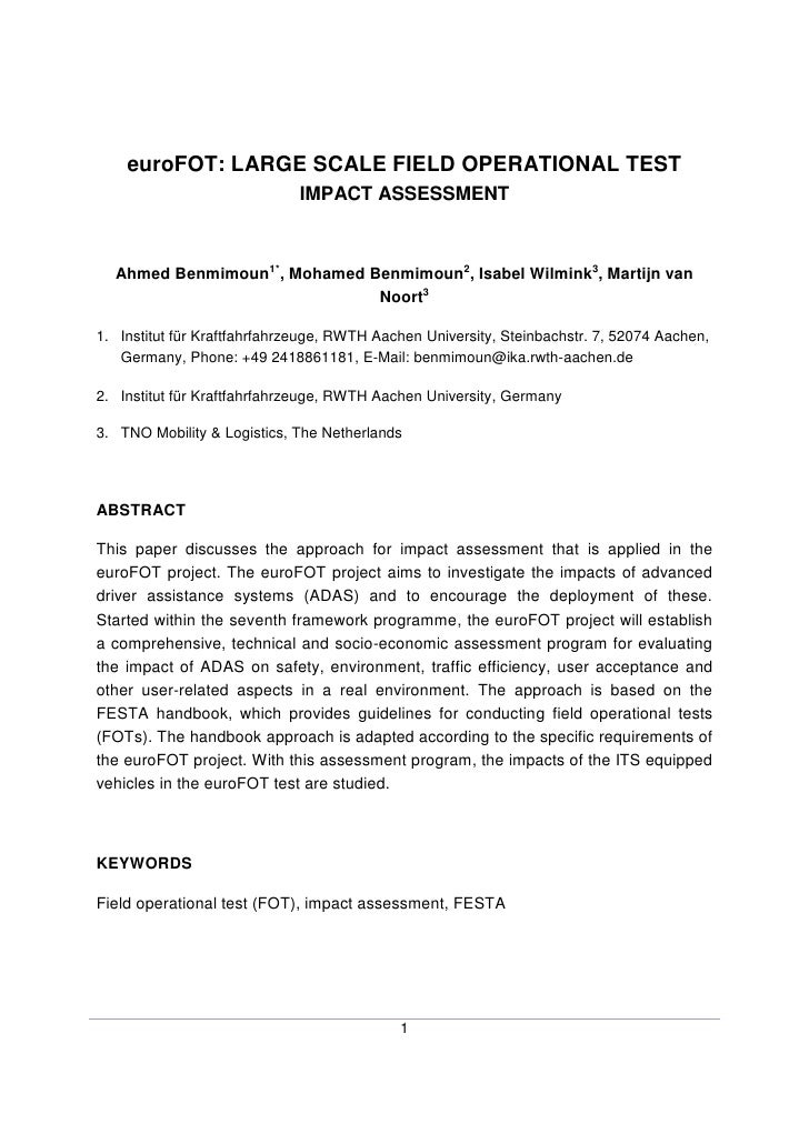 euroFOT: LARGE SCALE FIELD OPERATIONAL TEST                              IMPACT ASSESSMENT      Ahmed Benmimoun1*, Mohamed...