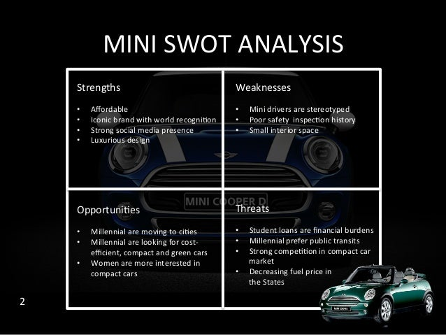 swot analysis mini cooper This case study is a situational analysis of the mini cooper automobile.