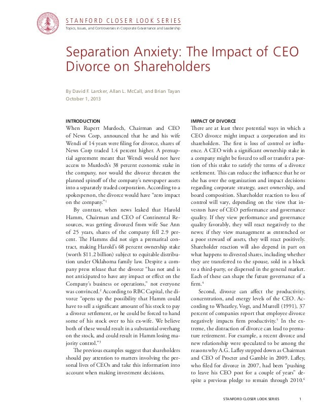 CGRP36 -- Separation Anxiety: The Impact of CEO Divorce on Shareholders