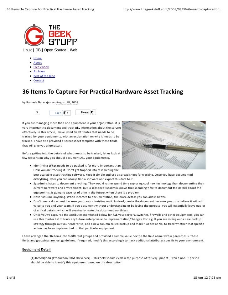 36 items to capture for practical hardware asset tracking