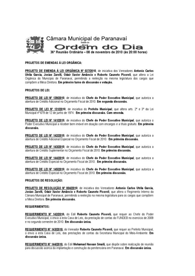 """""""jm Câmara Municipal de Paranavaí  Estado do      É ? .32 .  """"v ¡-.  «r .  «swf-Ta -r *w tá 5-- .  >< '"""" 36° Reunião Ordin..."""