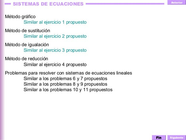 Anterior Siguiente SISTEMAS DE ECUACIONES Método gráfico Similar al ejercicio 1 propuesto Método de sustitución Similar al...