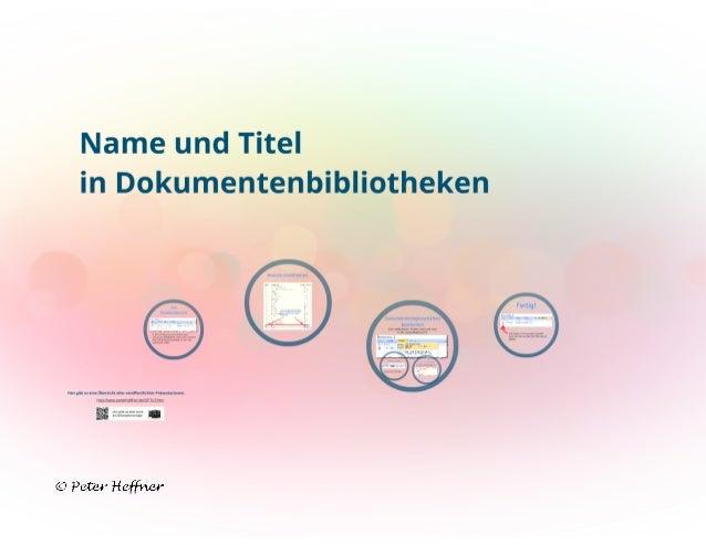 SharePoint Lektion #36: [Name] und [Titel] in Dokumentenbibliotheken