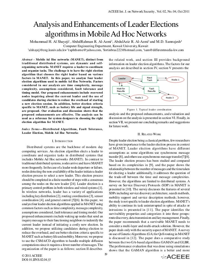 ACEEE Int. J. on Network Security , Vol. 02, No. 04, Oct 2011          Analysis and Enhancements of Leader Elections      ...