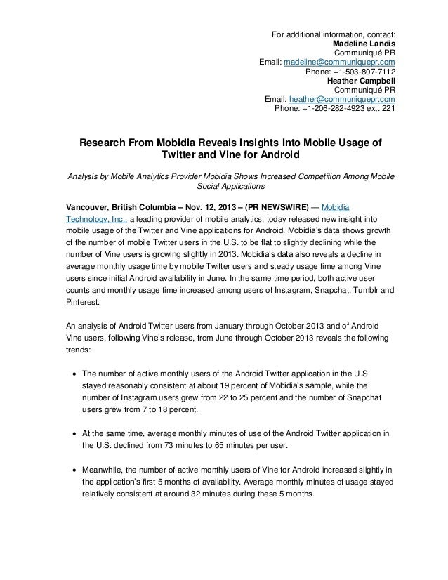 Research from Mobidia Reveals Insights into Mobile Usage of Twitter and Vine for Android