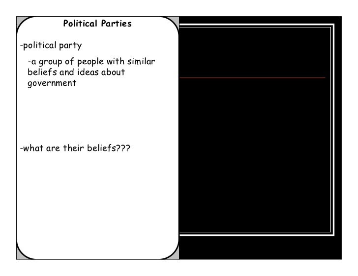 Political Parties-political party  -a group of people with similar  beliefs and ideas about  government-what are their bel...