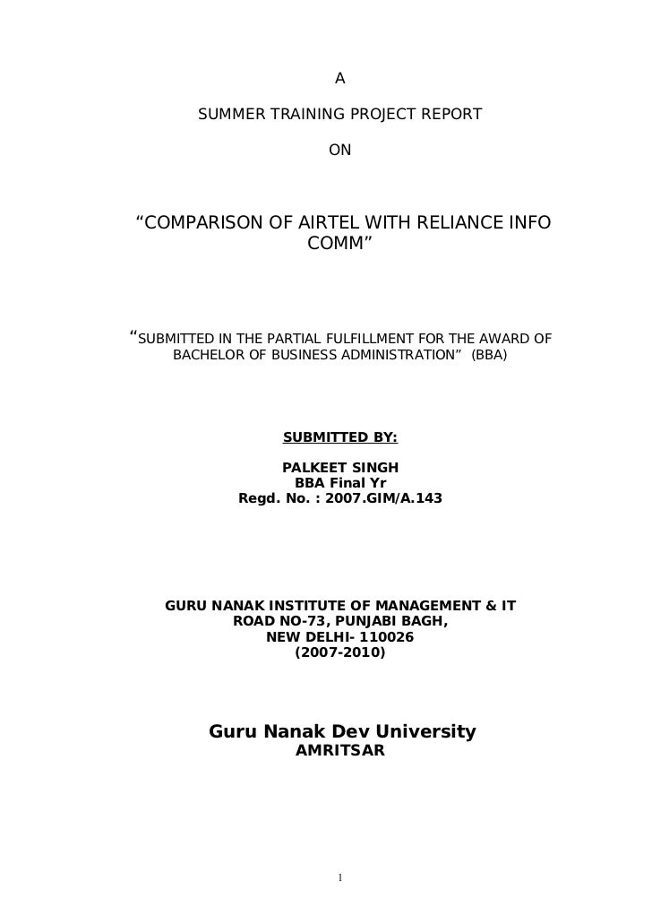 """A        SUMMER TRAINING PROJECT REPORT                         ON""""COMPARISON OF AIRTEL WITH RELIANCE INFO                ..."""