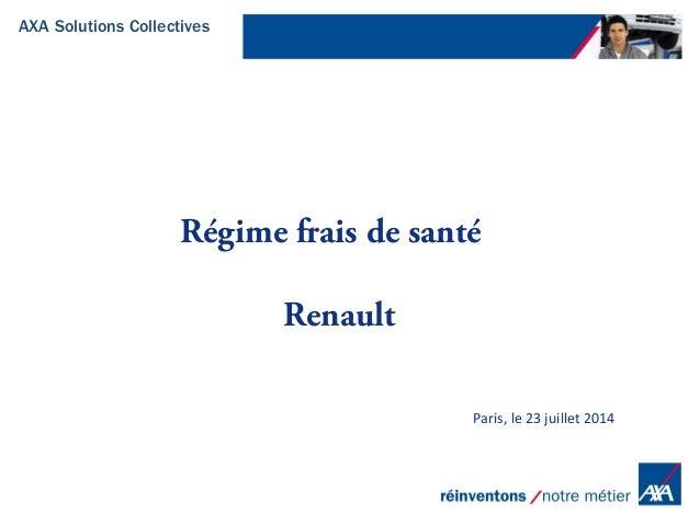 AXA Solutions Collectives Paris, le 23 juillet 2014 Régime frais de santé Renault