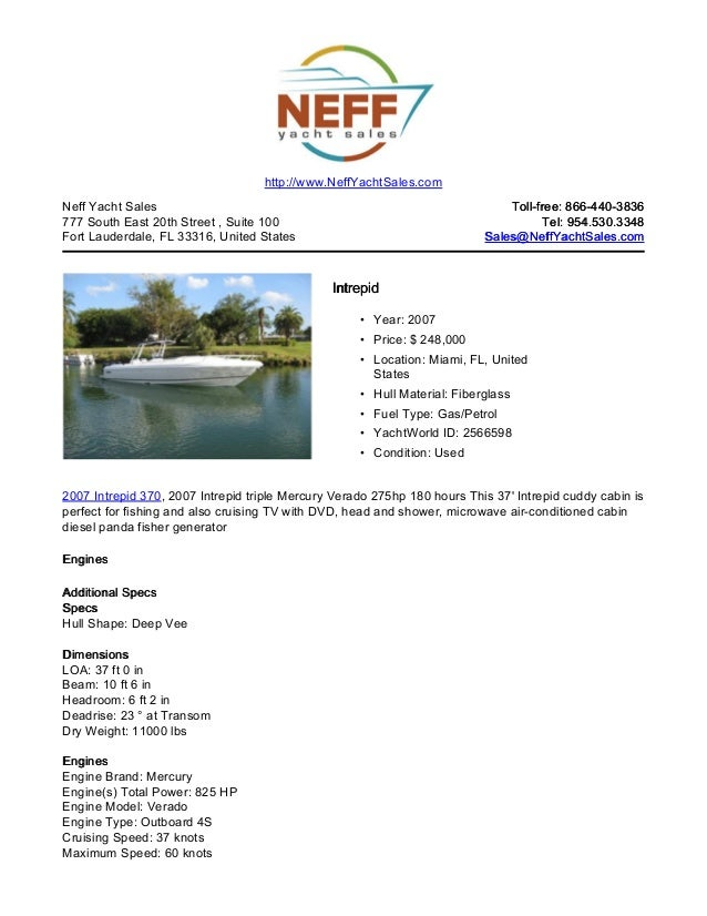 37' 2007 intrepid 370 for sale   neff yacht sales