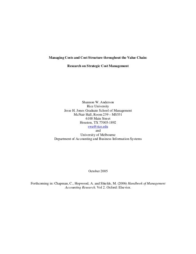Managing Costs and Cost Structure throughout the Value Chain:                       Research on Strategic Cost Management ...