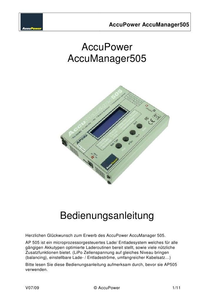 AccuPower AccuManager505                           AccuPower                      AccuManager505                      Bedi...