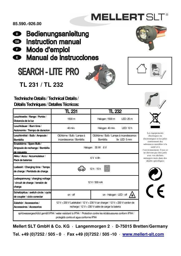 85.590.-926.00          TL 231 / TL 232  Technische Details / Technical Details / Détails Techniques / Detalles Técnicos: ...