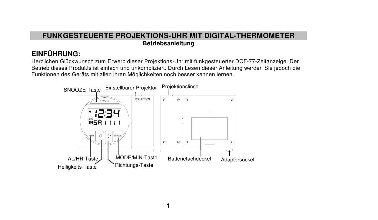 FUNKGESTEUERTE PROJEKTIONS-UHR MIT DIGITAL-THERMOMETER                                            Betriebsanleitung EINFÜH...