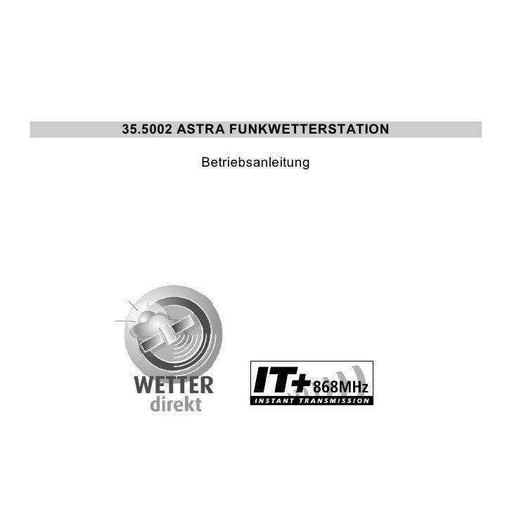 35.5002 ASTRA FUNKWETTERSTATION           Betriebsanleitung