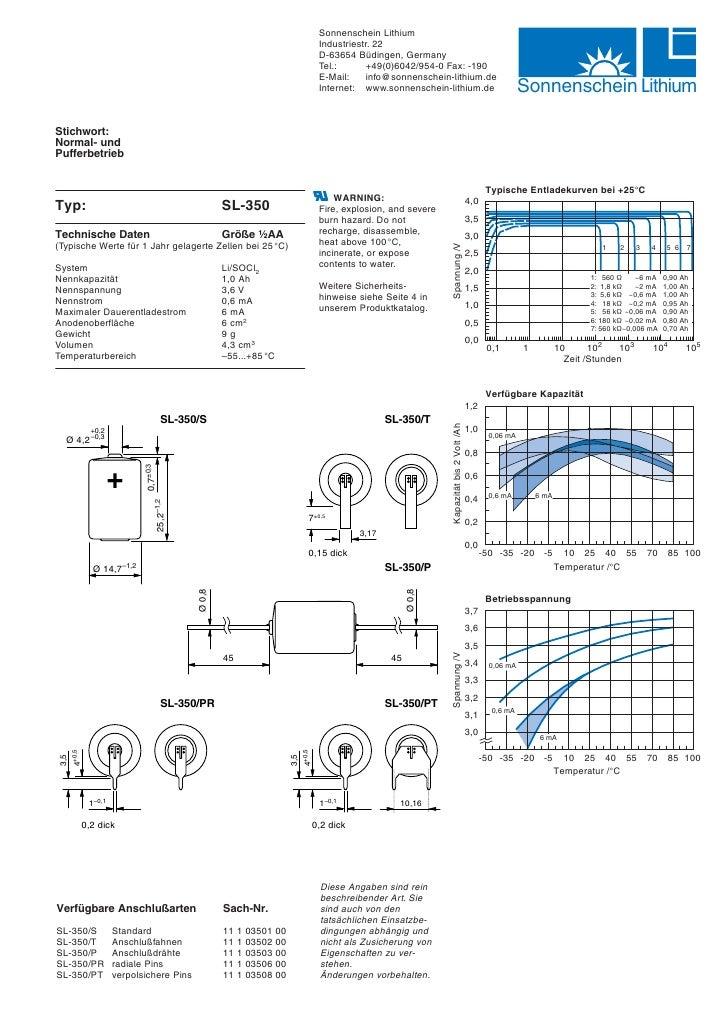 Sonnenschein SL-350 Lithium Batterie Datenblatt Datasheed