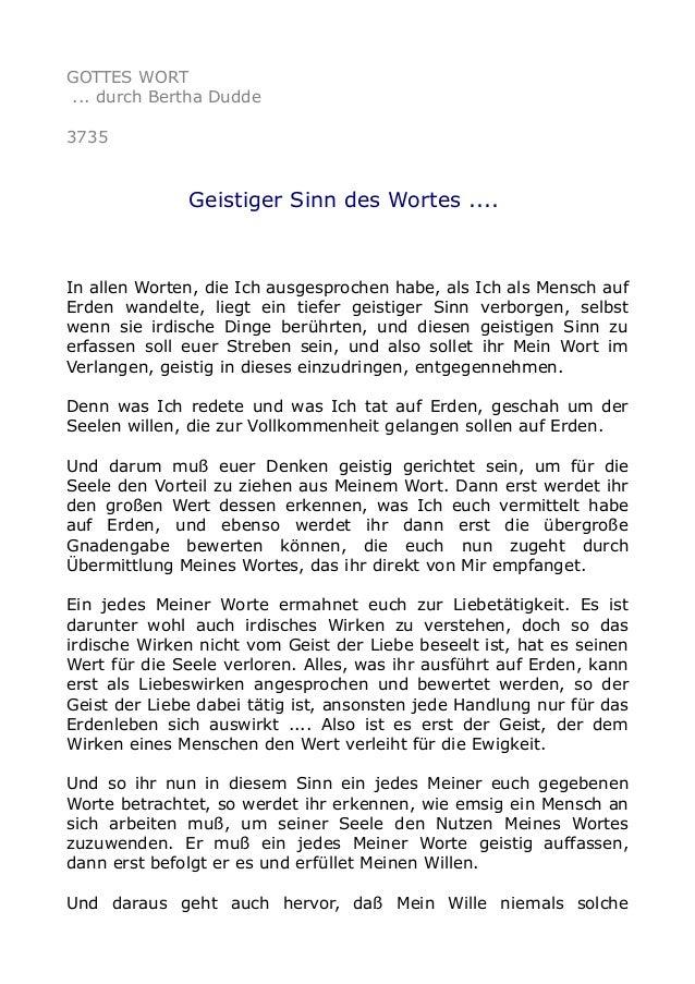 GOTTES WORT ... durch Bertha Dudde 3735 Geistiger Sinn des Wortes .... In allen Worten, die Ich ausgesprochen habe, als Ic...