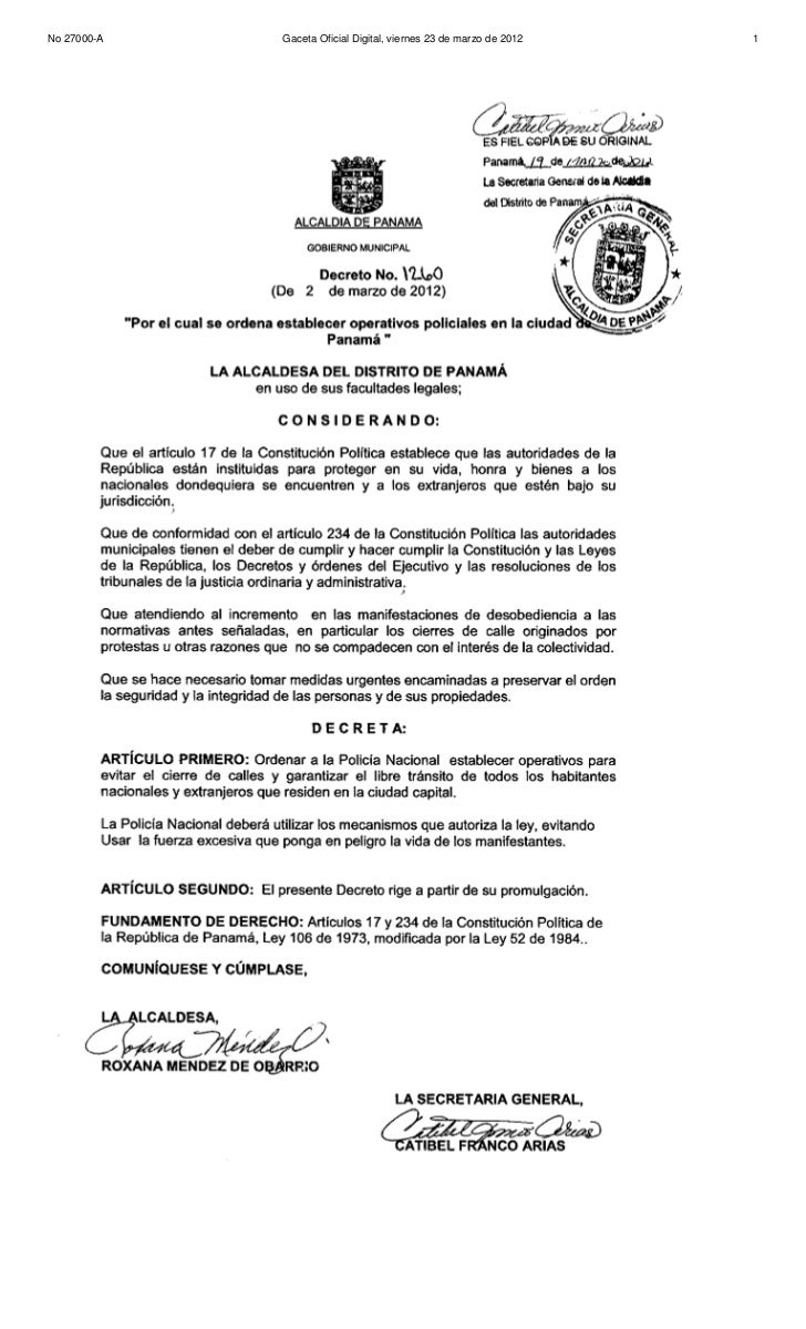 Decreto Alcaldicio Nº 1260 (de 2 de marzo de 2012)