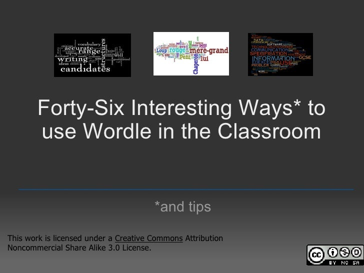 Forty-five Interesting Ways* to use Wordle in the Classroom