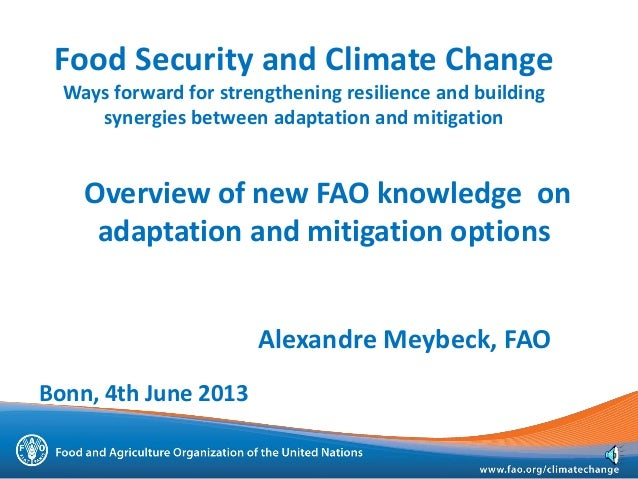 Overview of new FAO knowledge onadaptation and mitigation optionsAlexandre Meybeck, FAOFood Security and Climate ChangeWay...