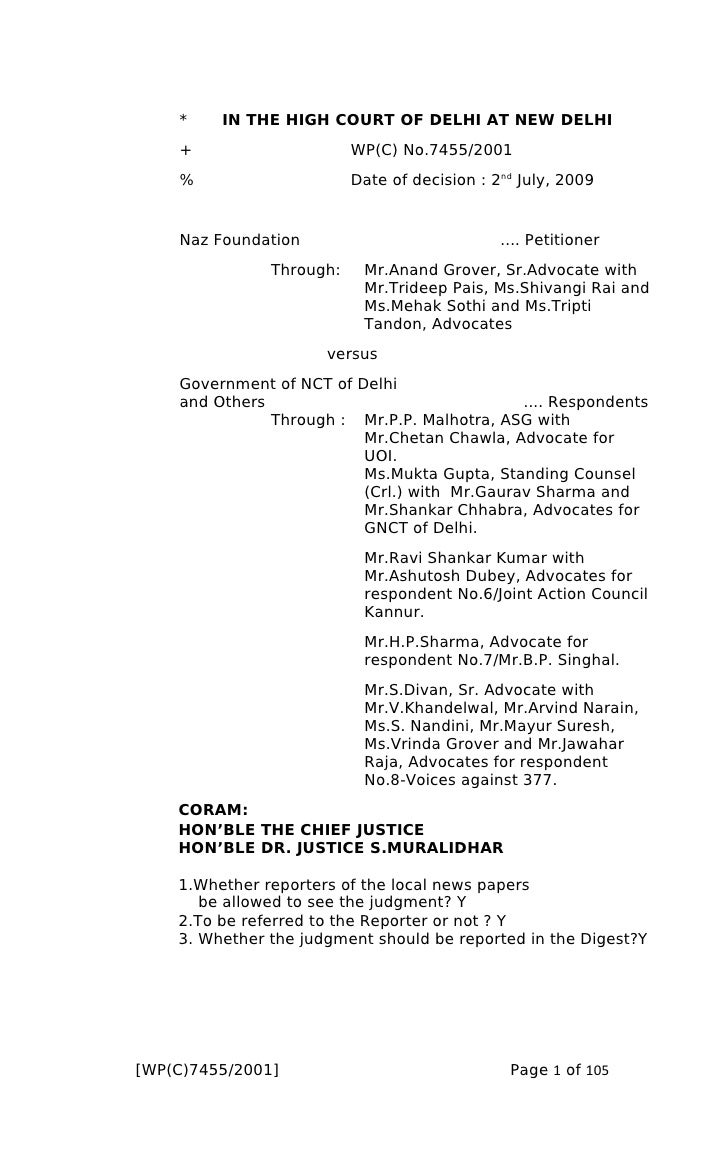 Decisión Suprema Corte de Nueva Delhi donde se despenalizó la homosexualidad