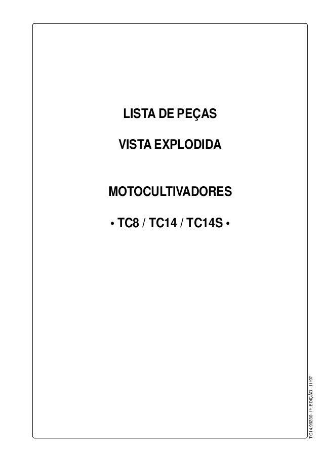 LISTA DE PEÇAS VISTA EXPLODIDA MOTOCULTIVADORES • TC8 / TC14 / TC14S • TC14.99230-1a .EDIÇÃO-11/97