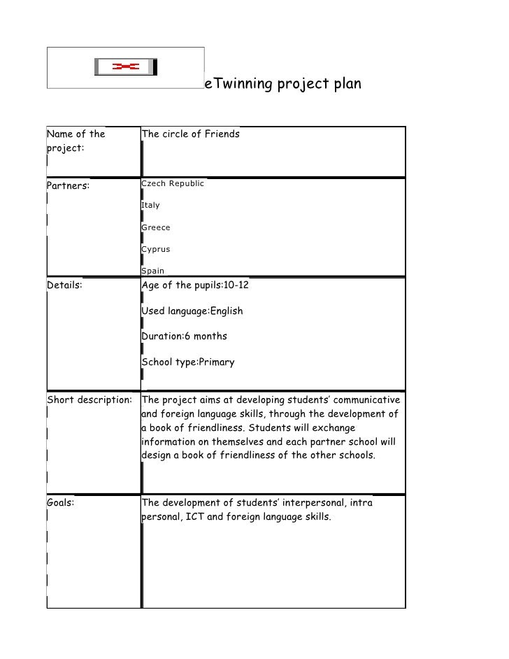 eTwinning project plan   Name of the        The circle of Friends project:   Partners:          Czech Republic            ...