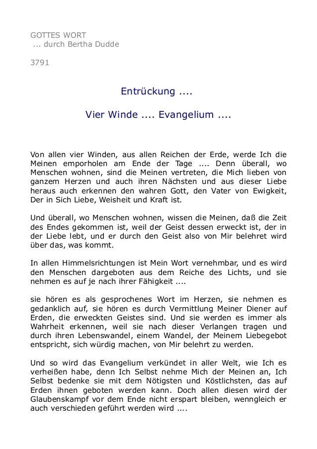 GOTTES WORT ... durch Bertha Dudde 3791 Entrückung .... Vier Winde .... Evangelium .... Von allen vier Winden, aus allen R...