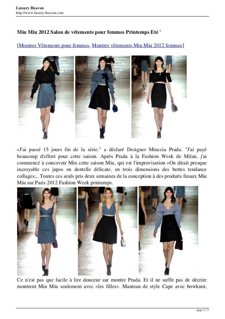 Luxury Heavenhttp://www.luxury-heaven.comMiu Miu 2012 Salon de vêtements pour femmes Printemps Eté [Montrer Vêtements pour...