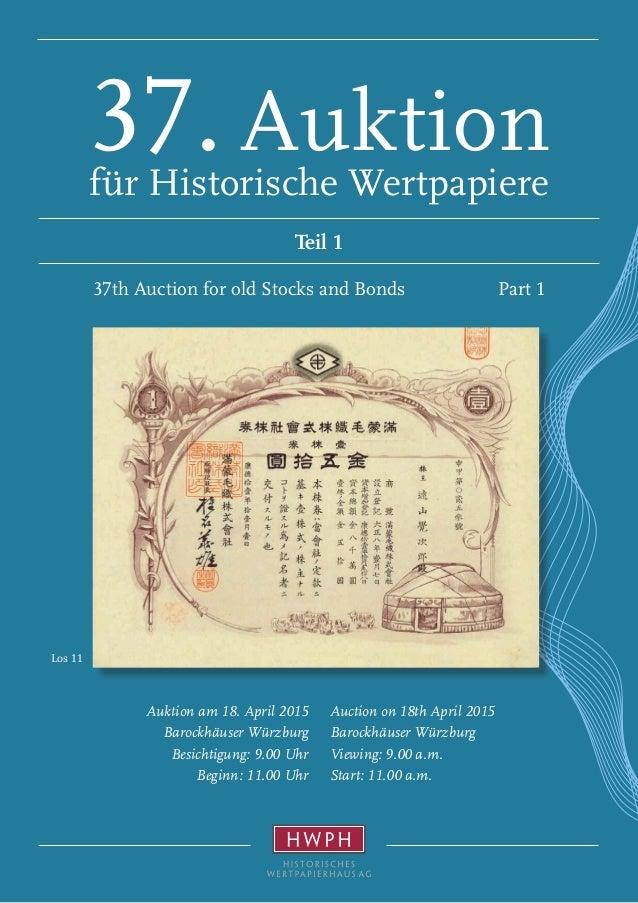 Los 11 Auction on 18th April 2015 Barockhäuser Würzburg Viewing: 9.00 a.m. Start: 11.00 a.m. Auktion am 18. April 2015 Bar...